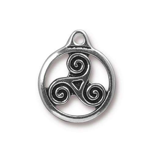TierraCast Charm Triskele - Silver Plated