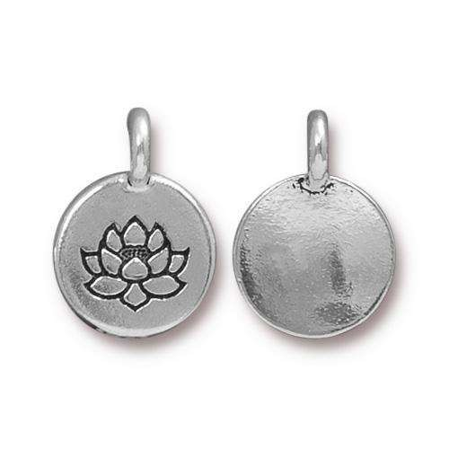 TierraCast Charm Lotus - Silver Plated