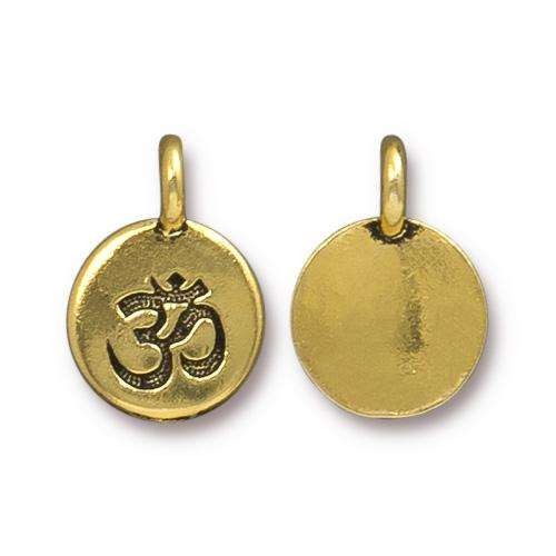 TierraCast Charm Om - Antique Gold