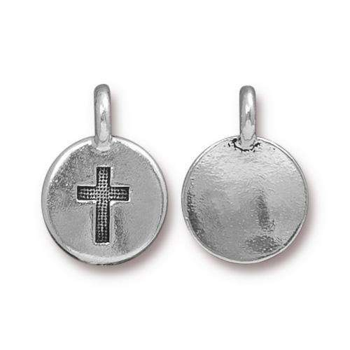 TierraCast Charm Cross - Silver Plated