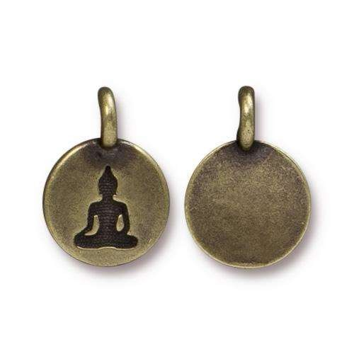 TierraCast Charm Buddha - Antique Brass