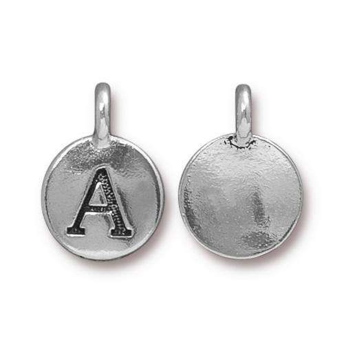 TierraCast Charm Letter A - Silver Plated