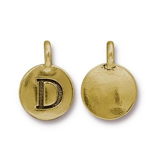 TierraCast Charm Letter D - Antique Gold