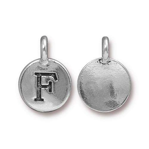 TierraCast Charm Letter F - Silver Plated