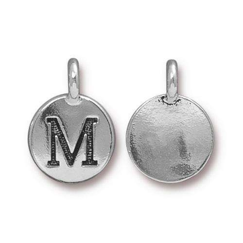 TierraCast Charm Letter M - Silver Plated