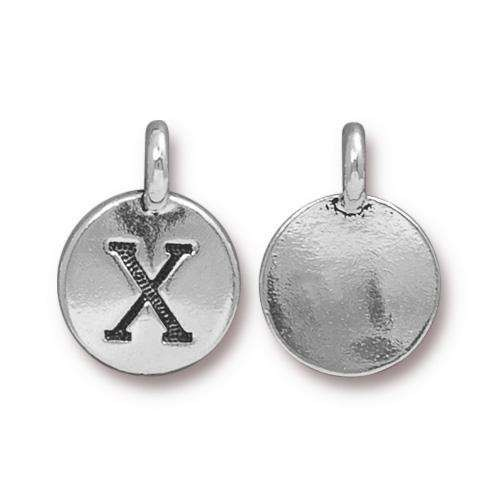TierraCast Charm Letter X - Silver Plated