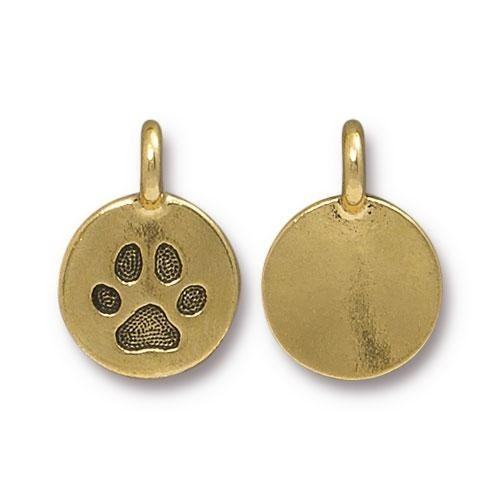 TierraCast Charm Paw - Antique Gold