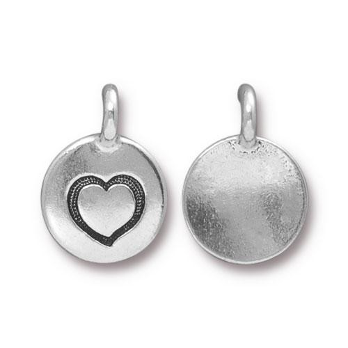 TierraCast Charm Heart - Silver Plated