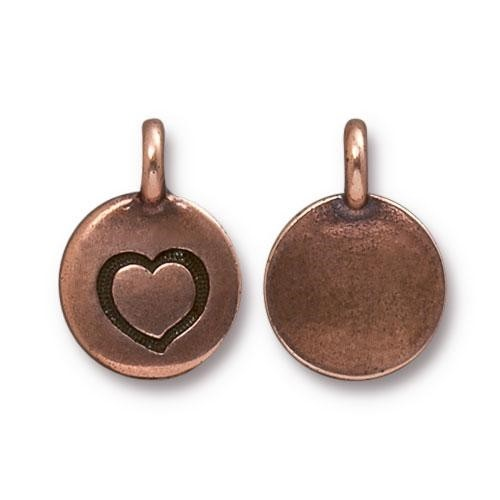 TierraCast Charm Heart - Antique Copper