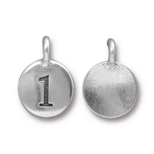 TierraCast Charm Number 1 - Silver Plated
