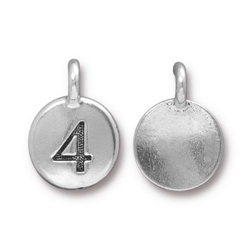 TierraCast Charm Number 4 - Silver Plated