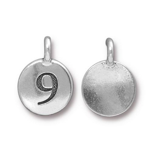 TierraCast Charm Number 9 - Silver Plated