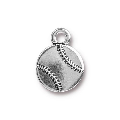 TierraCast Charm Baseball - Silver Plated