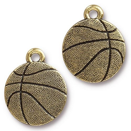 TierraCast Charm Basketball - Antique Gold