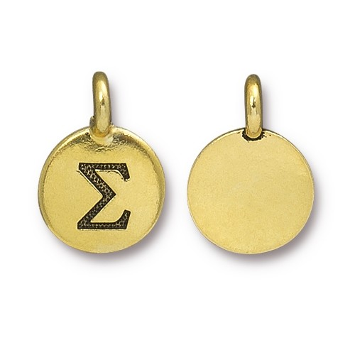 TierraCast Charm Sigma - Antique Gold