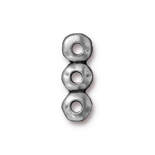 TierraCast Link 7mm Nugget 3 Hole Bar - Antique Silver