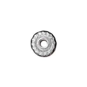 TierraCast Large Hole Bead Hammertone - Antique Silver