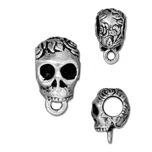 TierraCast Bail Skull - Silver Plated