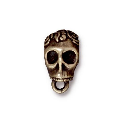 TierraCast Bail Skull - Antique Brass