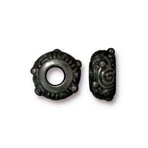 TierraCast Bead Spiral Large Hole - Black Plate