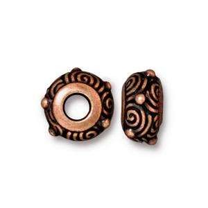 TierraCast Bead Spiral Large Hole - Antique Copper