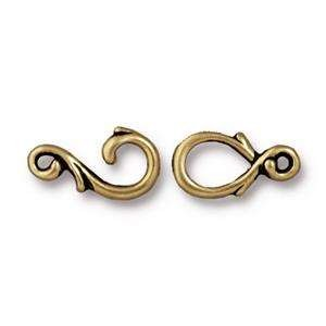 TierraCast Clasp Toggle Vine Hook & Eye - Antique Brass