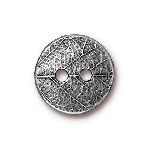 TierraCast Button Round Leaf - Antique Silver