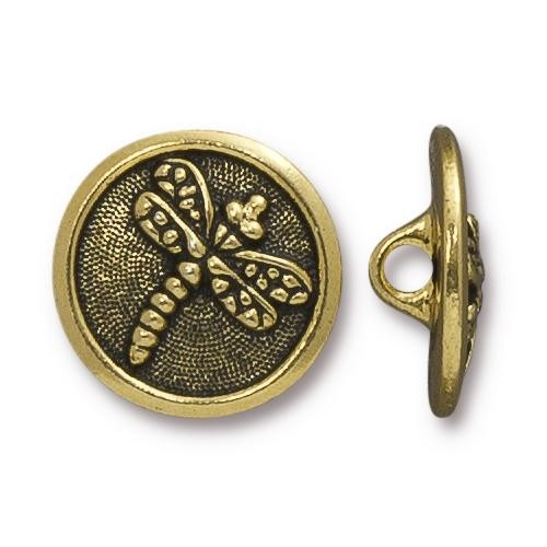 TierraCast Button Dragonfly - Antique Gold