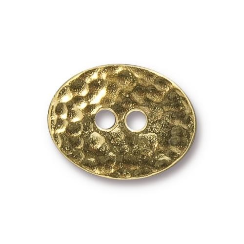 TierraCast Button Oval Distressed - Gold Plated