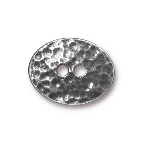 TierraCast Button Oval Distressed - Antique Silver