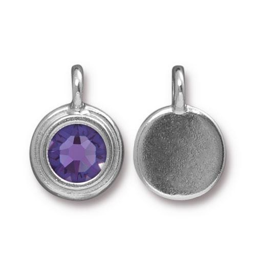 TierraCast Charm Stepped Swarovski SS34 TANZANITE - Silver Plated