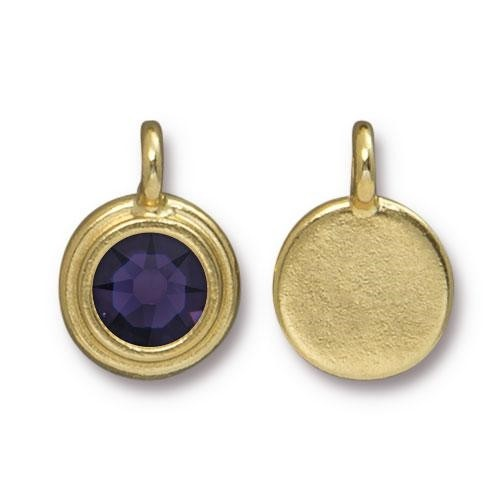 TierraCast Charm Stepped Swarovski SS34 PURPLE VELVET- Gold Plated