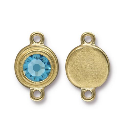 TierraCast Link Stepped Swarovski SS34 AQUAMARINE - Antique Gold