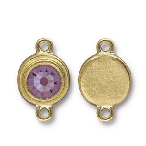 TierraCast Link Stepped Swarovski SS34 LT AMETHYST - Antique Gold