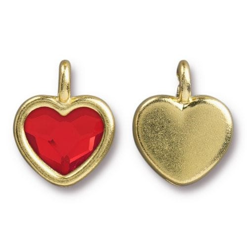 TierraCast Charm Heart LIGHT SIAM - Gold Plated