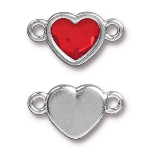 TierraCast Link Heart LIGHT SIAM - Silver Plated
