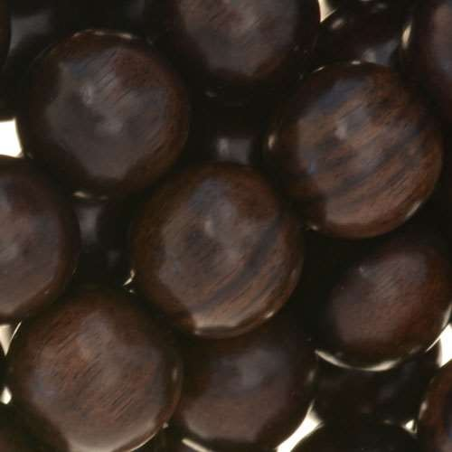 Tiger Ebony Wood Bead Round 15mm - strand