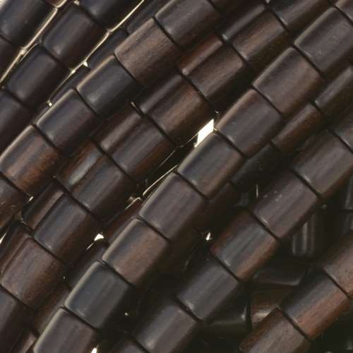 Tiger Ebony Wood Bead Tube 6x6mm - strand