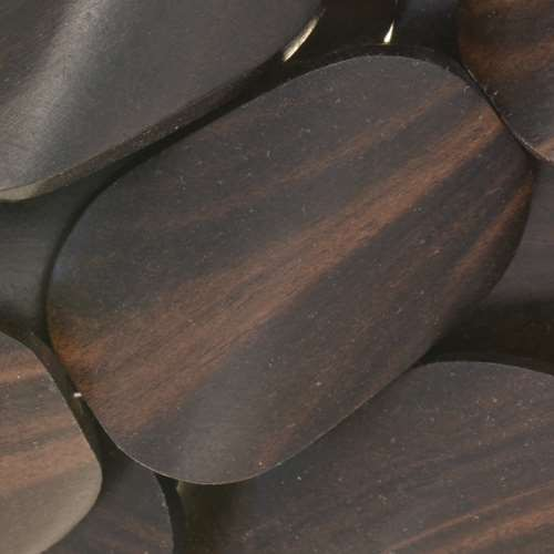 Tiger Ebony Wood Bead Twisted Oval 25x35mm - strand