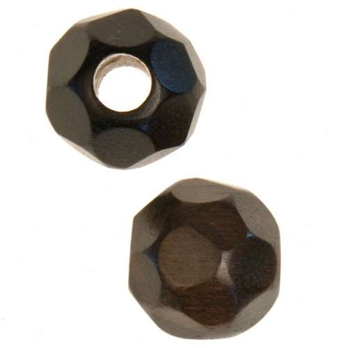 Tiger Ebony Wood Slide Large Hole Round Faceted 15mm - piece