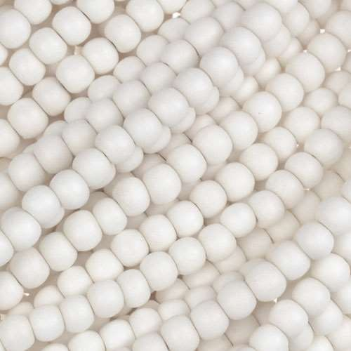 White Wood Bleach Bead Round 4mm - strand
