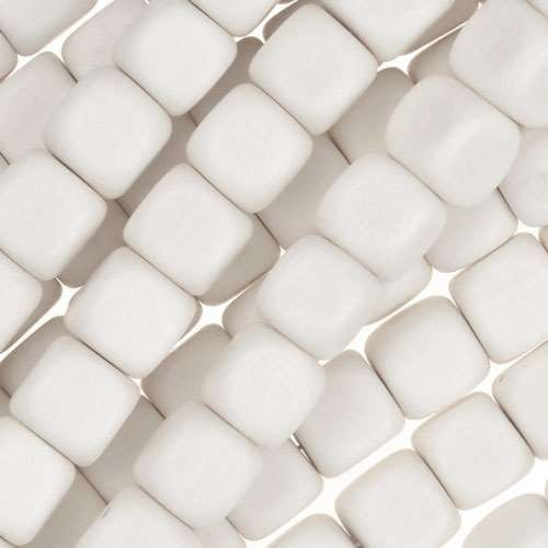 White Wood Bleach Bead Cube 8mm - strand