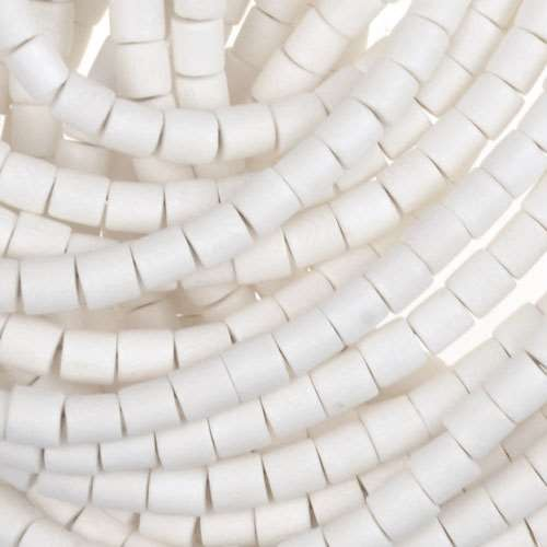 White Wood Bleach Bead Tube 4x4mm - strand