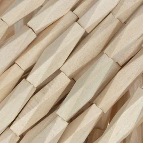 White Wood Natural Bead Diamond Shape 5x20mm - strand