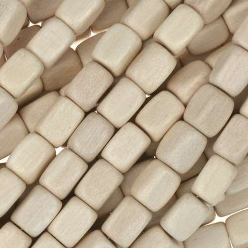 White Wood Natural Bead Rectangle 5x7mm