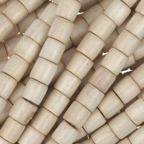 White Wood Natural Bead Tube 6x6mm - strand
