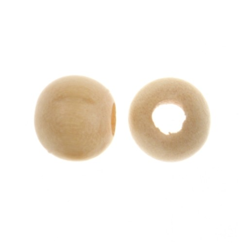 White Wood Natural Bead Round 8mm Large Hole (10)