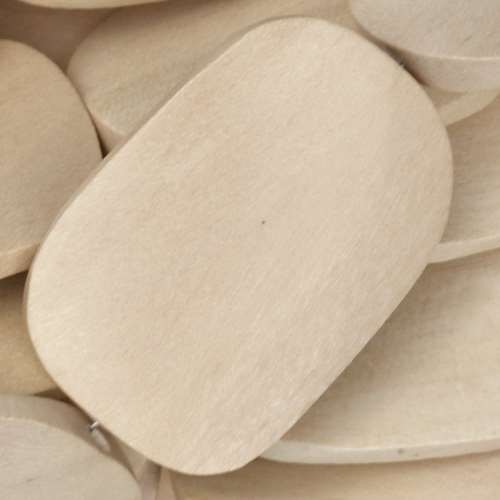 White Wood Natural Bead Twisted Oval 25x35mm