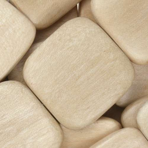 White Wood Natural Bead Flat Square 25mm - strand