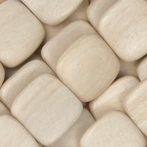 White Wood Natural Bead Flat Square 16mm - strand